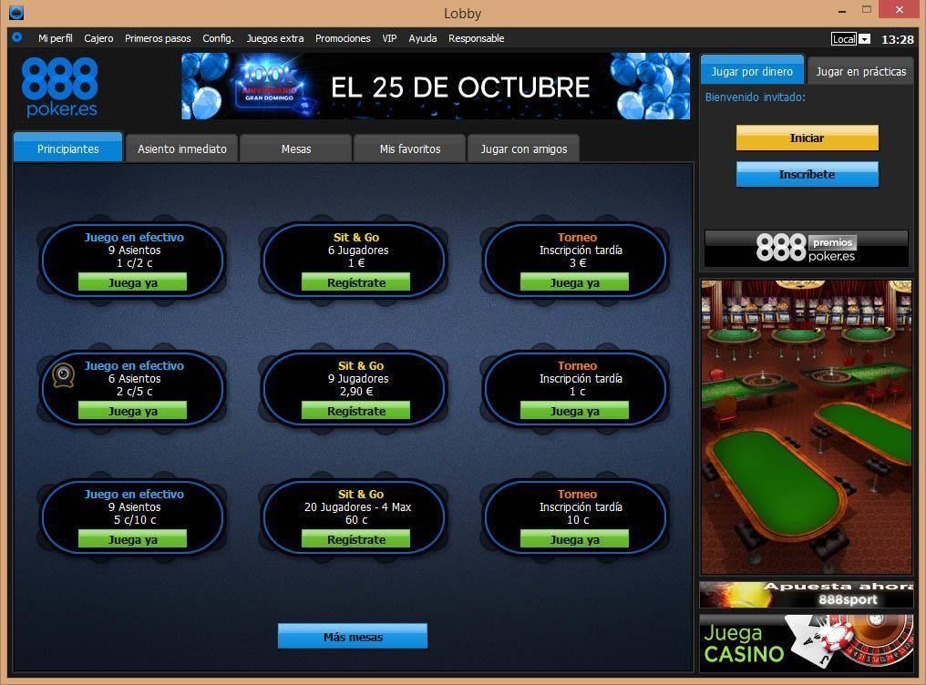 888 poker mesas