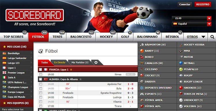 marcadores online scoreboard