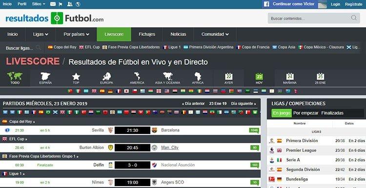 resultados de futbol marcadores online