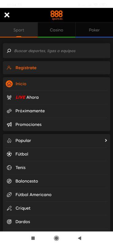 aplicación 888 sport