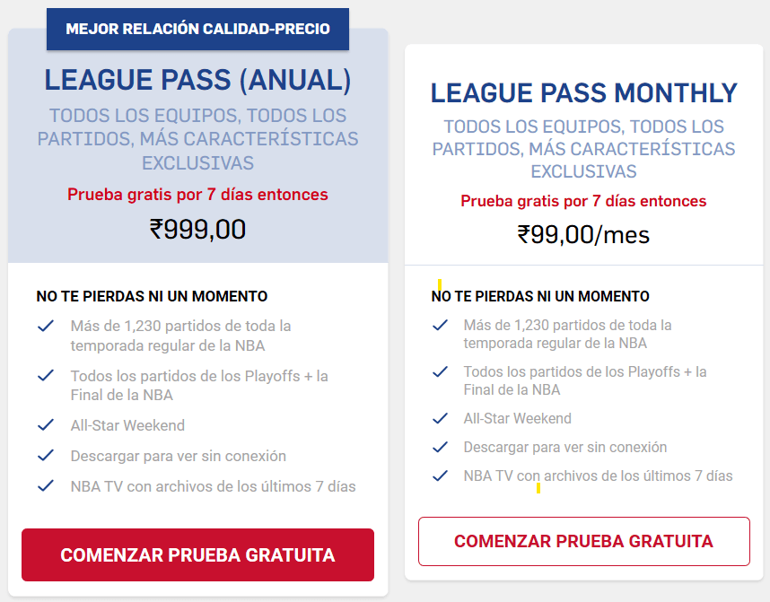 precios india nba league pass vpn